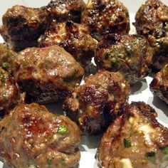 Grilled Lamb and Feta Meatballs from The Constables Larder. I intend to serve these with a Tzatziki sauce Lamb Recipes, Meatball Recipes, Greek Recipes, Meat Recipes, Cooking Recipes, Healthy Recipes, Healthy Meals, Yummy Recipes, London Broil Steak