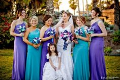 44 Stunning Purple And Turquoise Wedding Ideas - VIs-Wed Turquoise Bridesmaid Dresses, Blue Bridesmaids, Wedding Bridesmaid Dresses, Wedding Attire, Blue Orchid Wedding, Peacock Wedding, Purple Blue Weddings, Ivory Wedding, Dream Wedding