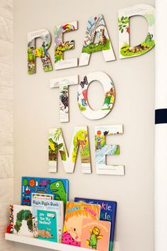 Kids Spaces transitional kids. using book pages to make lettering.