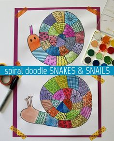 Create colorful spiral doodle snakes and snails (Pour Art Projects) Kindergarten Art, Preschool Art, Preschool Lessons, Her Wallpaper, Art Sub Plans, Snail Art, First Grade Art, Spiral Art, Art Lessons Elementary
