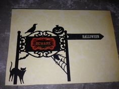 Halloween card. Cut from Silhouette Cameo, and purchased stickers.