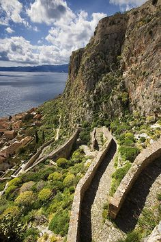 Greece Travel Inspiration - Stone pathway to Monemvasia - Peloponnese, Greece Santorini, Places Around The World, Around The Worlds, Beautiful World, Beautiful Places, Myconos, Greek Beauty, Greek Islands, Greece Travel
