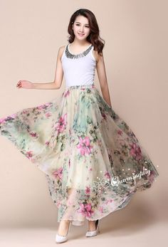 32 Colors Green Flowers Chiffon Skirt Long Maxi by CHARMINGDIY