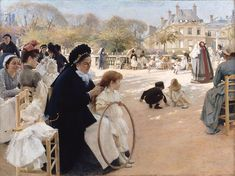 "Albert Edelfelt:  ""The Luxembourg Gardens, Paris"", 1887, Oil on canvas,  Dimensions: 141.5 × 186.5 cm,  current location: Museum Ateneum (Helsinki)."