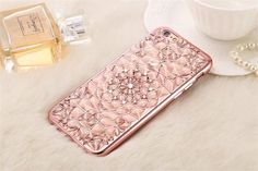 2017 Luxury 3D Electroplating Flowers Rhinestone Bling Soft TPU Phone Cases Cover For iPhones