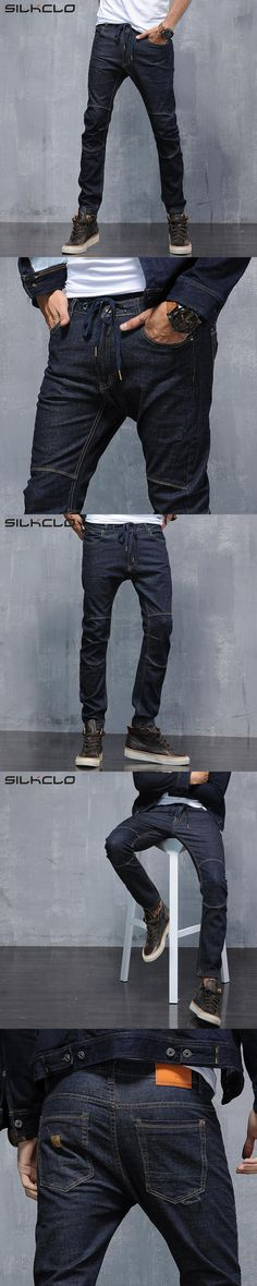 Brand clothing Autum 2016 Men's Modern Harem Jeans Slim Korean Style Pencil Pants For Youth Fashion Cross-Pants Plus Size 28-36