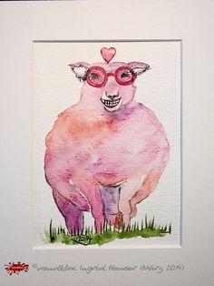 """No. 019 der wandklex-Unikatserie """"Ich war schon immer das Bunte Schaf der Familie"""" - nummerierte Einzelstücke! Ihr eigenes Schaf können Sie als Ihr Designerstück von wandklex® Ingrid Heuser, Ratzeburg, Germany bestellen:  im kleinen Klexshop bei DaWanda auf http://de.dawanda.com/shop/wandklex ©  Kunstatelier wandklex Ingrid Heuser, D-Ratzeburg Besuchen Sie mich auch auf facebook: https://www.facebook.com/wandklex"""