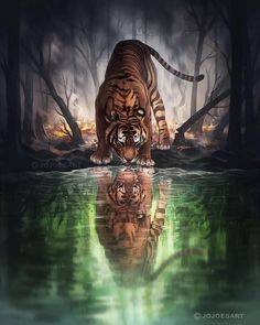 Fantasy Animals and Digital Art. Click the image, for more art by Jonas Jödicke. Sounds Of Birds, Tiger Art, Nature Posters, Colorful Animals, Art Club, Community Art, Big Cats, Art World, Cat Art