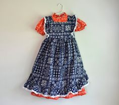 Vintage 1970s two-piece country western girl's dress