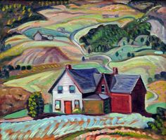 Anne SAVAGE - Eastern Townships (c. 1940) Canadian Painters, Canadian Artists, Urban Landscape, Abstract Landscape, Beaver Hall, Artists For Kids, Modern Artists, Artist Art, Les Oeuvres
