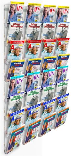 Workshop Series 32-Pocket Magazine Rack for Wall, Fits 8.5 x 11 Literature - Clear