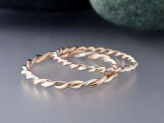 14k Gold Rope Twist Wedding Ring Set  1.6mm and by LichenAndLychee, $425.00
