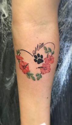 Small Dog Tattoos, Cat Paw Tattoos, Dog Pawprint Tattoo, Puppy Tattoo, Memorial Tattoos Small, Tattoos For Dog Lovers, Family Tattoos, Small Tattoo, Animal Tattoos