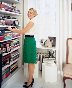 bookcase + kelly green