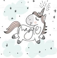 Magic cute unicorn, stars, clouds and hand lettering poster, greeting card, vector illustration with outline royalty-free stock vector art Unicorn Painting, Unicorn Drawing, Unicorn Art, Unicorn Illustration, Illustration Art, Unicornios Wallpaper, Unicorns And Mermaids, Stuffed Animal Patterns, Stickers