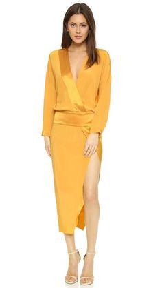 Mason by Michelle Mason Obi Long Sleeve Wrap Dress
