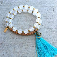 Matte clear quartz and sandalwood wrist mala bracelet – Lovepray jewelry