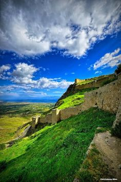 """Acrocorinth, """"Upper Corinth"""", the acropolis of ancient Corinth, is a monolithic rock overseeing the city of Corinth, Peloponnese. Oh The Places You'll Go, Places To Travel, Places To Visit, Corinth Greece, Myconos, Greece Pictures, Greece Travel, Greece Vacation, Historical Sites"""