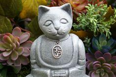Meditation Cat Buddha Zen Cat Ohm Cat Concrete by PhenomeGNOME