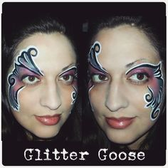 Fantasy swirls Face painting by Glitter Goose.