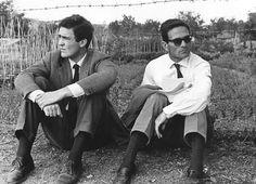 Bernardo Bertolucci and Pier Paolo Pasolini near Rome during the filming of 'Accattone', 1961. Photograph: Marina Cicogna
