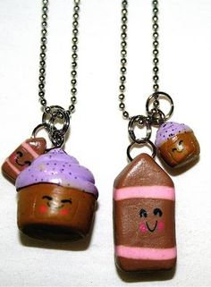 cupcake and chocolate milk best friend necklaces