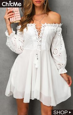 Off Shoulder Lace Up Crochet Lace Dress Shop Women's Trendy Clothes Online. Buy More, Save More. Latest & New Styles. Dresses Elegant, Pretty Dresses, Sexy Dresses, Beautiful Dresses, Casual Dresses, Short Dresses, Fashion Dresses, Summer Dresses, Simple Dresses