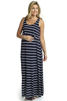 PinkBlush Maternity Navy White Striped Racerback Maternity Maxi Dress Small *** To view further for this item, visit the image link.Note:It is affiliate link to Amazon.
