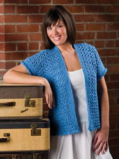 """This fun, sunshine-inspired top and cool, stylishly simple jacket will fit seamlessly into any wardrobe and flatter any figure.    Top is sized for busts from 32"""" to 36"""" and can be made from sport-weight yarn. Jacket pattern includes instructions for sizes from small to 3X and is styled from bulky-weight yarn."""