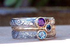 custom stacking rings, American made, using recycled materials and real gemstones. I just ordered some as a reward to myself
