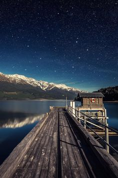 pier + stars, lake wakatipu, new zealand