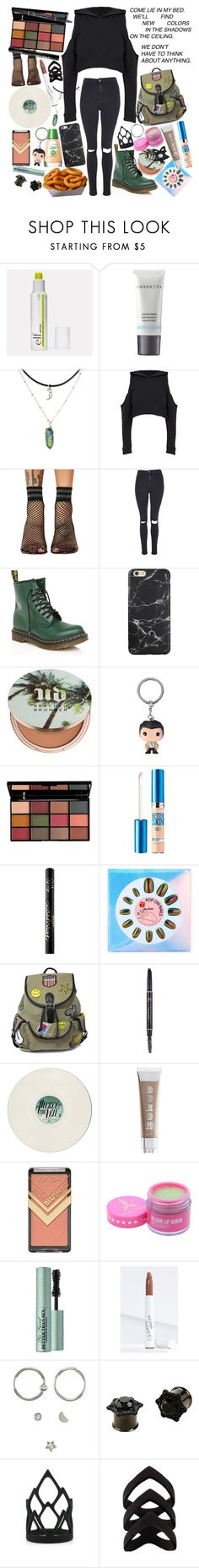 """""""Don't mind me, I'm just reaching for your necklace. Talking to my mom about this little girl from Texas."""" by thelyricsmatter ❤ liked on Polyvore featuring Cover FX, Ana Accessories, Topshop, Dr. Martens, Urban Decay, Hot Topic, NYX, Maybelline, Kat Von D and Like Dreams"""