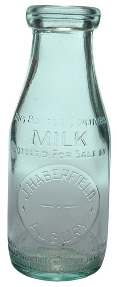 J. Haberfield, Albury. One pint wad mouth milk bottle. c1930s+. ABCR Auction 18 Lot 670. November 2014