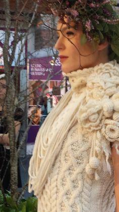Aran and crochet knit dress by Mary Donoghue for Irelands Eye Knitwear Showcase Ireland 2015