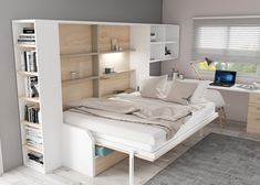Bedroom Decor For Small Rooms, Home Office Bedroom, Room Design Bedroom, Murphy Bed Ikea, Murphy Bed Plans, Small Apartments, Small Spaces, Campervan Bed, Horizontal Murphy Bed