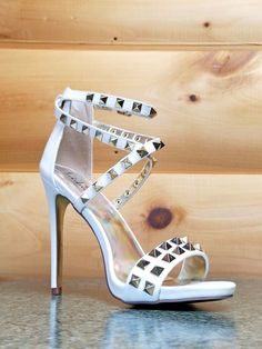 12c3b3cd15db Totally Wicked Footwear · Products · Luichiny Humor Riot White Leatherette  Gold Stud Cross Strap Sandal Shoe - 5