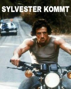 Sylvester Stallone (Rambo First Blood) on his motorcycle