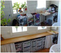 Vilken skillnad det blev! Före- och efter-bilder i en tvättstuga, där jag optimerade förvaringen och skapade mer plats och harmoni. Basement Laundry, Laundry Room, Walk In Closet, Hacks Diy, Getting Organized, Home Office, Kitchen Decor, New Homes, Cabinet