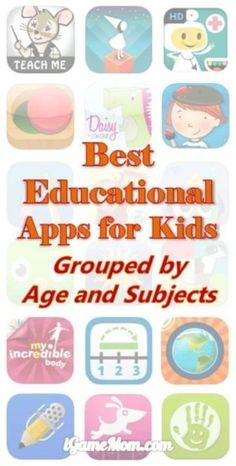 Best Educational Apps for Kids, grouped by age and subject. Top educational app recommendations from iGameMom. Best educational apps for kids, grouped by kids age and learning subjects Educational Apps For Kids, Educational Technology, Educational Activities, Learning Resources, Fun Learning, Mobile Learning, Learning Tools, Preschool Learning, Ipad Apps