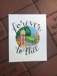 Custom-made watercolor paintings of University of South Carolina landmarks with beautiful handlettered quote or title. CUSTOMIZATION OPTIONS:
