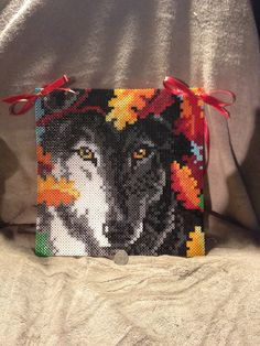 Stunning Autumn Wolf Perler Bead Sprite Wall by TheHouseThatCrafts, $30.00