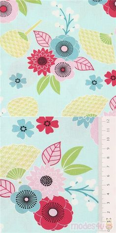 """light blue cotton fabric with Japanese hand fans and red blue pink florals, Material: 100% cotton, Fabric Type: smooth cotton fabric, Pattern Repeat: ca. 20cm (7.8"""") #Cotton #Flower #Leaf #Plants #USAFabrics"""