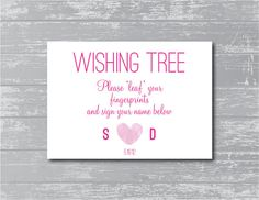 Wishing Tree Leaf Your Fingerprint Sign 5x7 DIY by CreativePapier, $7.00