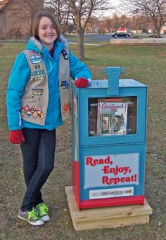 Lois Furry. Holt, MI. This is a silver award project of a Girl Scout named Audrey who loves to read. Audrey also maintains a book shelf in the Holt Food Bank for visitors to take and share books.