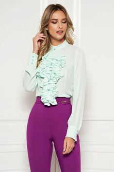 StarShinerS mint office women`s blouse with ruffles on the chest transparent chiffon fabric high collar, high collar, long sleeves, transparent chiffon fabric, with ruffles on the chest Mint Office, Blouse Outfit, Chiffon Fabric, High Collar, Suits You, Summer Looks, Size Clothing, Shirt Blouses, Ruffles