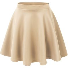 LE3NO Womens Basic Versatile Stretchy Flared Skater Skirt ($13) ❤ liked on Polyvore featuring skirts, bottoms, faldas, saias, fitted skirts, beige skirt, skater skirt, layered skirt and flared hem skirt