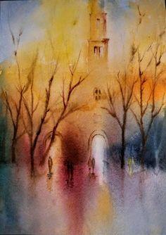 Rain-soaked City Scenes - Original Watercolor Painting