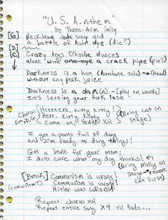 Lyrics to U.S.A.nthem by Three Arm Sally.