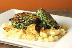 Collard Green Cakes with Caramelized Cauliflower Quinoa