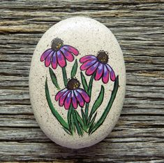 Purple Coneflower Painted Rock, Decorative Accent Stone, Paperweight Purple Coneflower Painted Rock, Decorative Accent Stone, Paperweight by HeartandSoulbyDeb on Etsy Rock Painting Patterns, Rock Painting Ideas Easy, Rock Painting Designs, Easy Paint Designs, Pebble Painting, Pebble Art, Stone Painting, Painting Art, Paintings